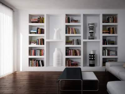 книжные полки из гипсокартона фото