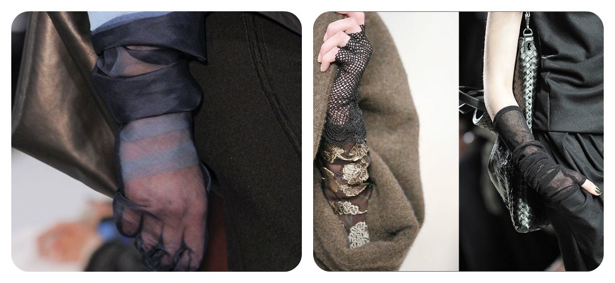 перчатки из прозрачной ткани фото
