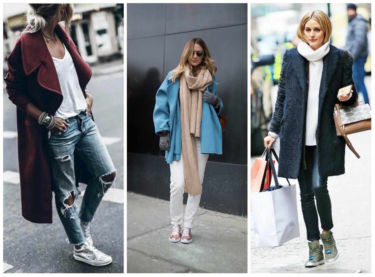 луки с пальто и кроссовками
