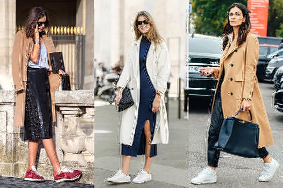 пальто и кроссовки фото